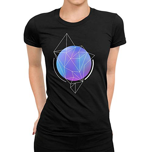 Camiseta de manga corta para mujer, diseño abstracto, color azul degradado, con líneas geométricas de polígono Negro Negro ( 50