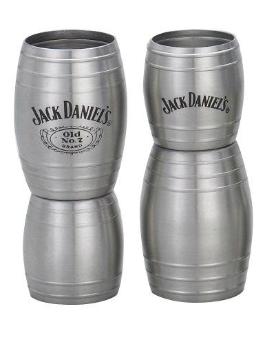 Jack Daniels Licensed Barware Double Barrel Jigger, 1 oz./2 oz, Silver