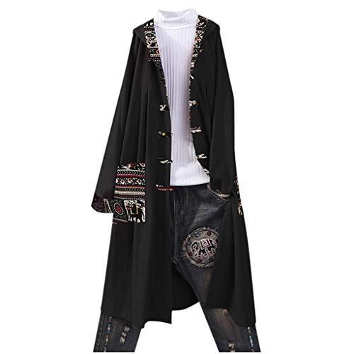PinkLu Damen Autumn Jacket Große Größe Lässiges Sweatshirt Bohemian Button Hoodie Damen-Cardigan im ethnischen Stil Einfarbiger Mantel Langer Kapuzenpullover