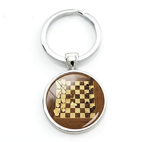 Llavero cabujón, jugador de ajedrez, caballo, colgante, figura de ajedrez