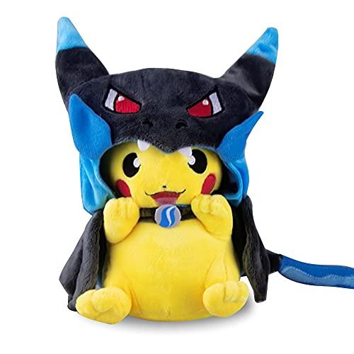 Pikachu Plush Stuffed Animal Toy - Charizard Pikachu Plush Doll with Smiling Face and Poncho - Pikachu Pillow Plush Toy 8 Inch