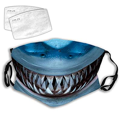 Liacafa Shark Teeth Finding Windproof Mouth Guard, Washable Earloop Face Mouth Decorations - Reusable and Adjustable Face Mouth Bandana Protector with Replaceable Filters