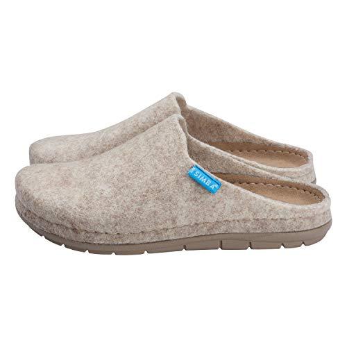 Simba Akupressur-Hausschuhe aus echter Wolle für Damen, Sand, 41 | Höchster Komfort | Reflexzonen