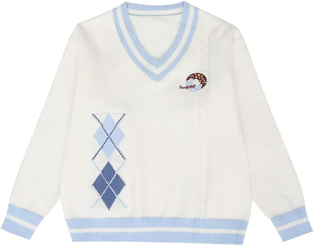 AINIFU Girls' Uniform V-Neck Sweater Pullover Jumper Outerwear Lightweight Knit Sweater for Kids 6-18Y