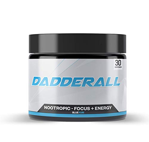 Dadderall Nootropic Powder for Energy and Focus | No Sugar Focus Energy Drink Mix with Nootropic Supplements, 200mg Caffeine, for Adults, 5g Per Scoop, 30 Servings, Blue Yum