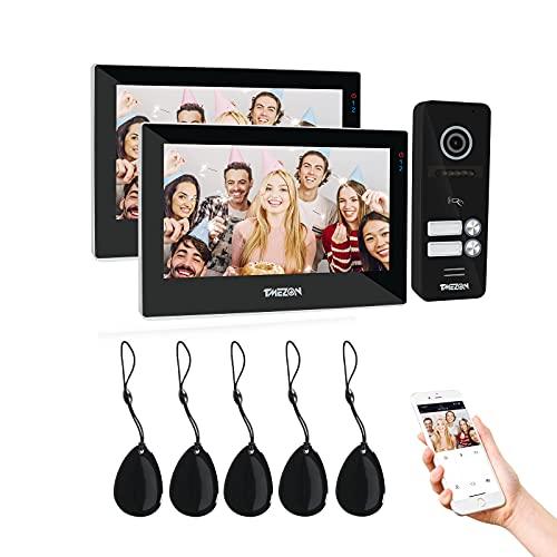 TMEZON 1080P WiFi IP Videoportero Sistema de intercomunicación,2 * 7 zoll Monitor de pantalla táctil y timbre con cable, Desbloqueo por deslizamiento de aplicación/tarjeta,Instantánea/Grabación
