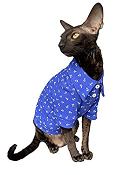 Kotomoda Cat's Clothes Polo en coton Sailor pour chat Sphynx Taille S