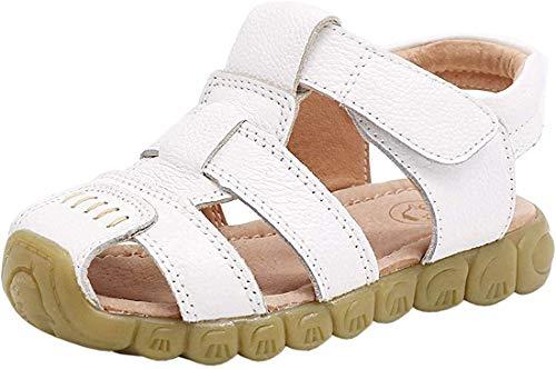Gaatpot Unisex Niños Sandalias con Punta Cerrada Niña Niño Zapatos Sandalias de Vestir en Cuero Zapatillas Verano Blanco 30 EU/30 CN