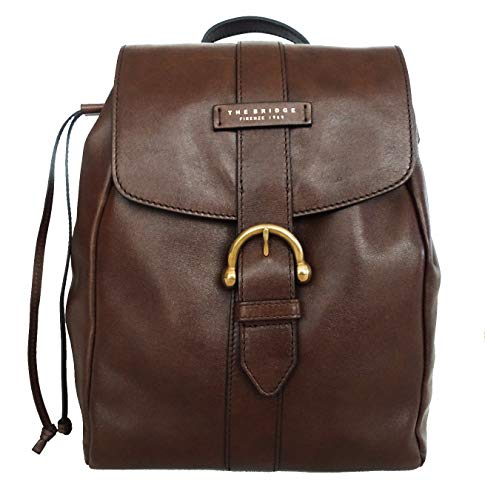Zainetto THE BRIDGE pelle leather made in Italy donna 33x28x12 cm marrone 44043919