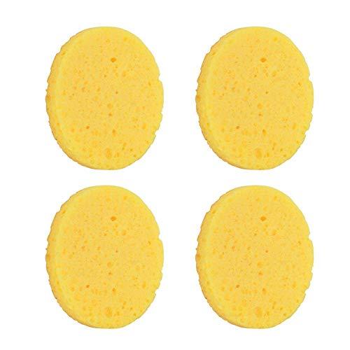 4pcs Spugne Detergenti per Viso in Fibra di Legno Naturale Spugnette Detergenti Viso Strumento per il Trucco di Bellezza (Giallo)