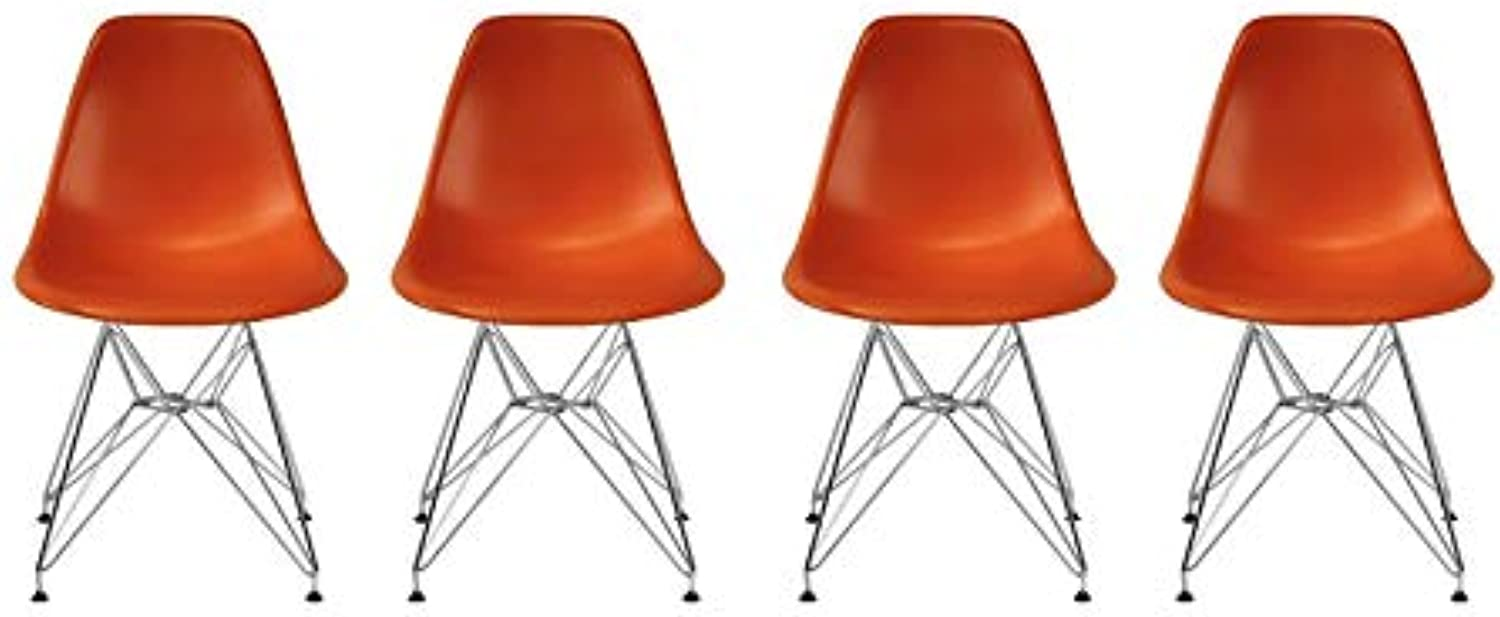 Take Me Home Furniture Eames Style Side Chair with Chrome Legs Eiffel Dining Room Chair - Set of 4(orange)