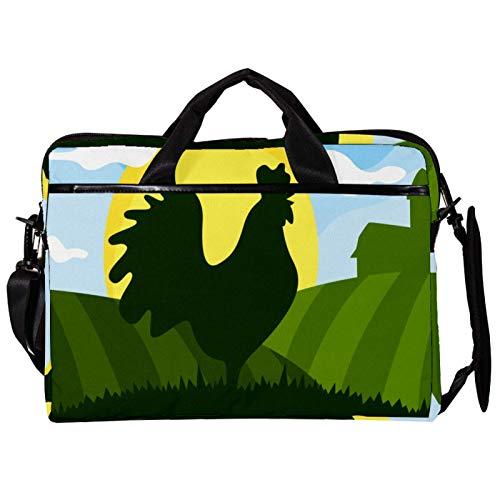 Mochila unisex para ordenador o tableta, ligera para portátil, bolsa de viaje de lona, 13.4-14.5 pulgadas, con hebillas, color verde
