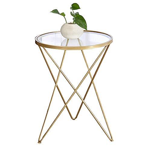 Home&Selected furniture / evenwichtige glazen eindtabel Nordic woonkamer ronde telefoon tafel sofa bijzettafel balkon goud-ijzer-kunstkoffietafel, 18,5