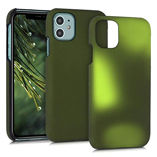 kwmobile Thermal Sensor Case Compatible with Apple iPhone 11 - Color Changing Heat Sensitive Hard Cover - Black/Green