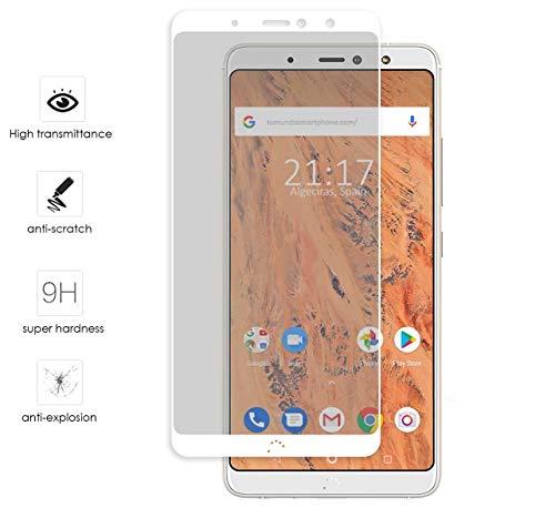 Tumundosmartphone Protector Cristal Templado Frontal Completo Blanco para BQ AQUARIS X2 / X2 Pro Vidrio