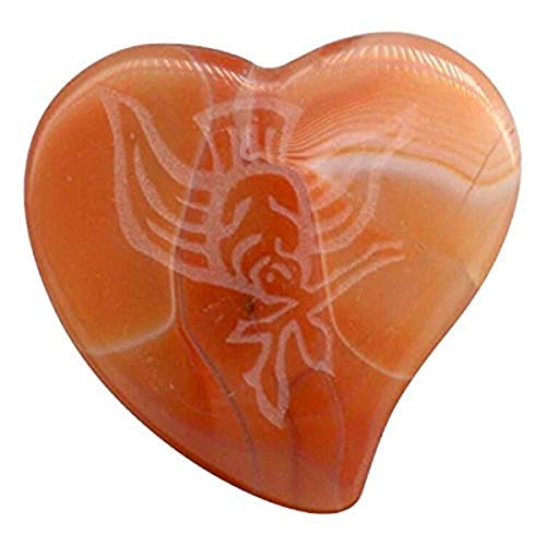 Strum-N-Comfort SNC-MP/A/Dove Magic Stone Amber Agate Heart Shaped Pick with Dove Engraving
