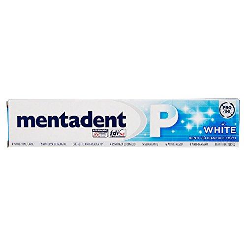 Mentadent - Zahnpasta White, Pro Zinc, 75 ml Paket von 12]