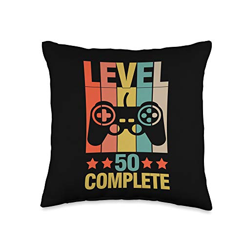 Video Gamers Gaming Day For Men Women Kids Gift Level 50 Complete Video Gamers Playing Gaming Day Gifts Throw Pillow, 16x16, Multicolor