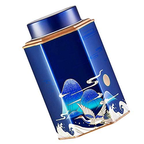 Cabilock Caja de Lata Frascos Hexagonales con Tapas Contenedores de Almacenamiento de Alimentos para Hojas Sueltas Té Café Especias Azúcar Azul
