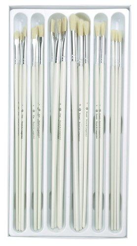 Royal and Langnickel - Set di 24 pennelli a punta rotonda/piatta, assortiti, manico lungo