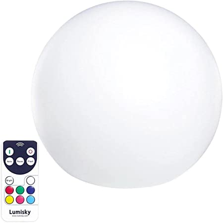 Boule lumineuse sans fil flottante LED multicolore dimmable BOBBY ∅40cm avec télécommande et socle à induction