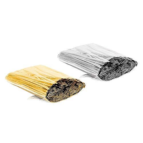 JJDD metallic twist banden, brood snoep tas banden, 15 cm Twist Ties voor Bakkerij Candy Lollipop broodzak kerstfeest decoratie bruiloft behandelen geschenktassen(goud+zilver) Gold+Silver
