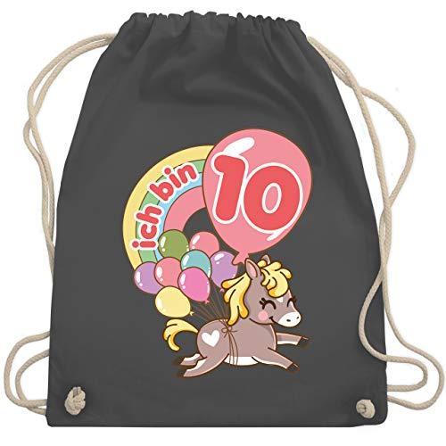 Shirtracer Geburtstag Kind - Ich bin 10 - Pferd mit Luftballons - Unisize - Dunkelgrau - Geburtstag - WM110 - Turnbeutel und Stoffbeutel aus Baumwolle