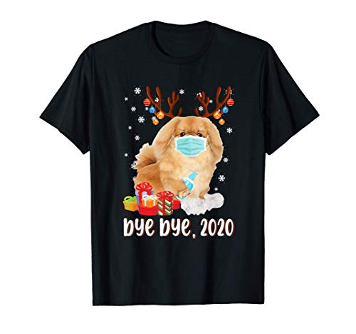 Pekingese Dog Bye Bye 2020 Christmas Santa Dog Wear Mask Gif T-Shirt