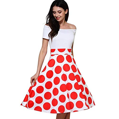 GMZA Nice-forever 50s Fashion Slash Neck Ladylike Vintage Charming Print Dot Off Shoulder Party Ball Gown Formele Damesjurk
