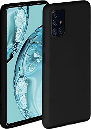 ONEFLOW Soft Hülle kompatibel mit Samsung Galaxy A51 Hülle aus Silikon, erhöhte Kante für Displayschutz, zweilagig, weiche Handyhülle - matt Schwarz
