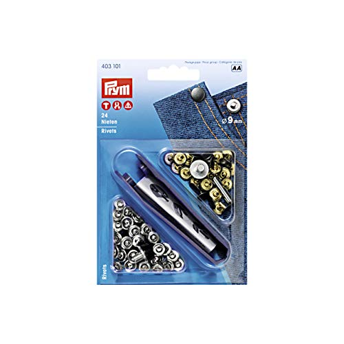 Prym 403101 Rivets Brass 9 mm Silver col/Antique Steel, Durchmesser