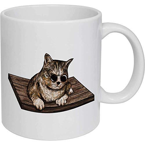 Taza de café, taza de té, gato con gafas de sol de cerámica, taza de viaje, regalo para mujeres y hombres