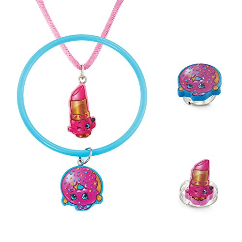 ShopkinsLippy Lips and D'lish Donut Four Piece Set - One Necklace, One Bracelet and 2 Rings