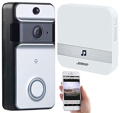 Somikon Türklingel mit Kamera: WLAN-Video-Türklingel mit App, PIR-Sensor, Akku, IP53, Funk-Empfänger (Türklingel-Erweiterung)