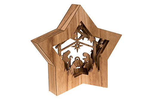 Clever Creations Wooden Star Shaped Nativity Scene Christmas Ornament, Festive LED Holiday Décor for Shelves and Tables, Brown