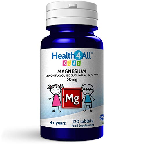 Kids Magnesium Sublingual 120 Tablets for Anxiety, Sleep, Ticks. Vegan Magnesium Citrate for Children. Made by Health4All