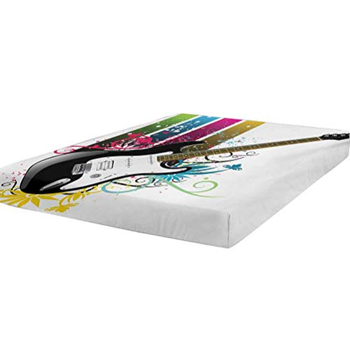 LCGGDB Guitar Bedding Fitted Sheet Full Size,Bass Guitar on Colorful Vertical Stripes with Floral Natural Artistic Ornaments Stain Resistant Deep Pocket Bed Sheet,Multicolor