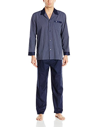 Jockey Herren Schlafanzug-Set, gewebt, langärmelig - Blau - Large