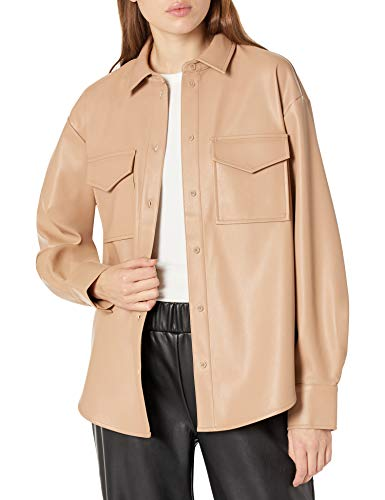 The Drop Women's @lisadnyc Faux Leather Long Shirt Jacket