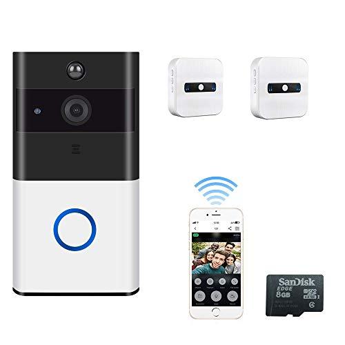 Timbre Video Wifi, Inteligente Timbres Para Puerta Contiene Hd720p Cámara De Seguridad HD, Visión Nocturna, Detección De Movimiento PIR, Conexión Antirrobo Reminder App For Ios,Videodoorbellringing2