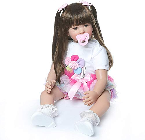 ZIYIUI Realista 24 Pulgadas 60 cm muñeca renacida Lindo bebé de Pelo Largo Parece un Juguete de Regalo de bebé de la Vida Real