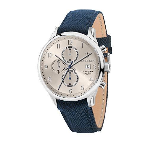 Maserati Herren Analog Quarz Uhr mit Leder Armband R8871636004