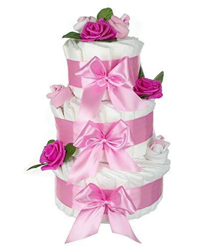 dubistda© XXL Windeltorte rosa für Mädchen ROSENBLÜTE / 63-teilig / Geschenk zur Geburt / 45cm