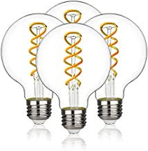 MYEMITTING Vintage G25 Edison LED Globe Light Bulbs 6W quivalent 60W Warm White 2700K 600lm Dimmable G80 Clear Glass Antique Flexible Spiral Filament Globe Light Bulb E26 Base 4 Pack