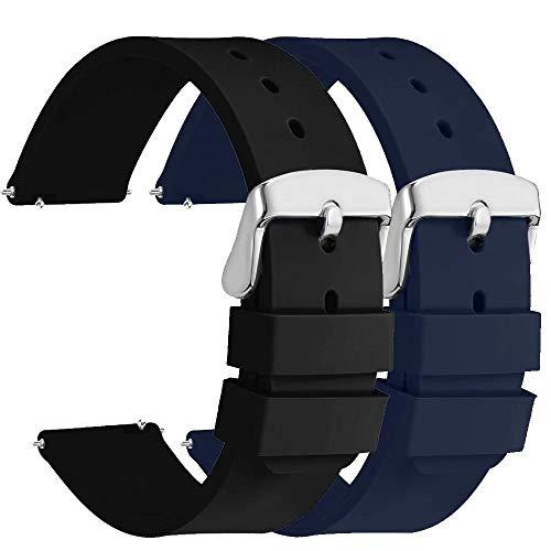 Fengyiyuda 2 Piezas Correa Reloj 20mm, Correas de Reloj Galaxy Watch Active 2, Hebilla de Acero Inoxidable, Compatible con Correa Watch 2/Garmin,Negro/Azul Marino