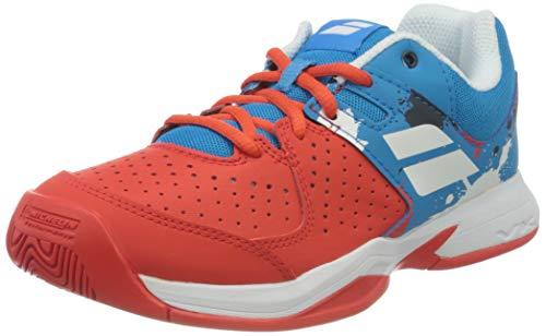 Babolat Unisex-Kinder Pulsion All Court JR Tennisschuhe, Tomato Red/Blue Aster, 36 EU