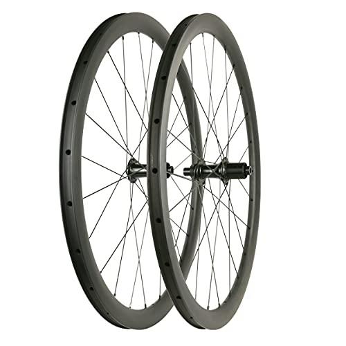Freno de Disco de Carbono Ultraligero Ruedas de Bicicleta de Carretera 50mm Clincher Tubeless Ready con Buje Recto Solo 1619g (Freno de Disco de 6 Pernos)