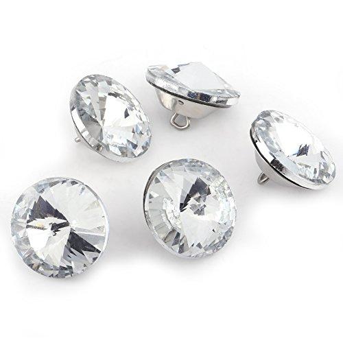 Bottoni di cristallo, 50PCS DIY Rhinestone Crystal Clear Bottoni di fissaggio Divano per cucire Accessori decorativi artigianali(20mm)
