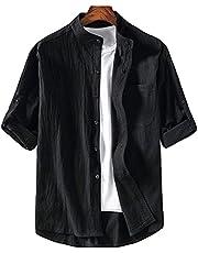 JHIJSC シャツ メンズ 半袖 カジュアル 七分袖 ゆったり 薄手 夏 綿麻 無地 おしゃれ 大きいサイズ