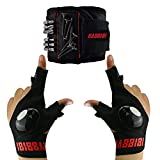 HABBIBI Magnetic Wristband & LED Flashlight Fingerless Gloves   Outdoor Fishing, Car Repairing, Camping, Running, Wood Working and Home Chores   Gadget Gifts for Hardworking Men Father/Dad   Present for Birthday and Occasional Gift